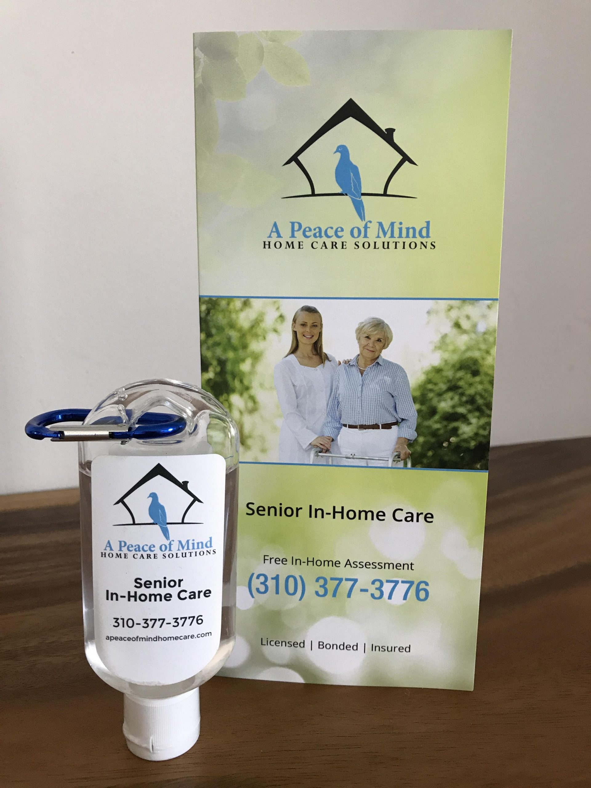A Peace of Mind Home Care Solutions print design for brochure & sanitizer label