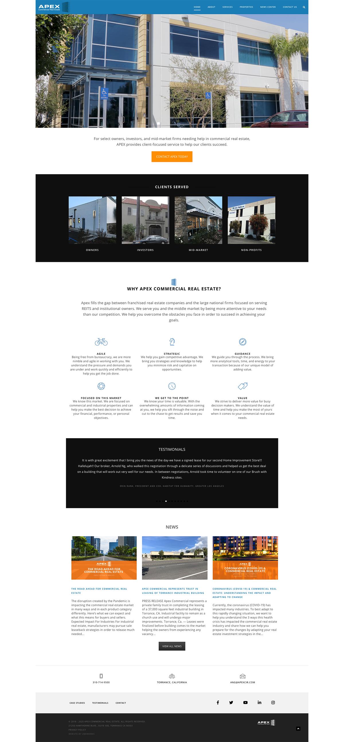 Apex Commercial Real Estate website design