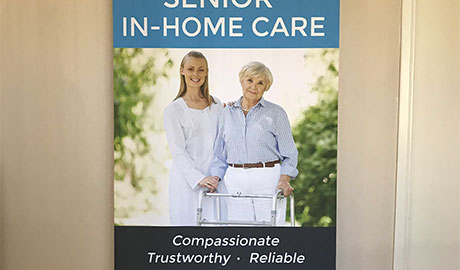 Retractable banner design for Palos Verdes in-home care services firm