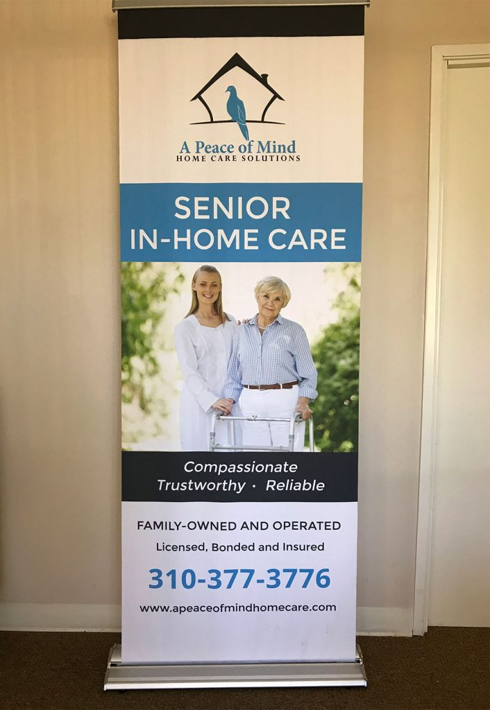 A Peace of Mind Home Care Solutions pull-up banner print design