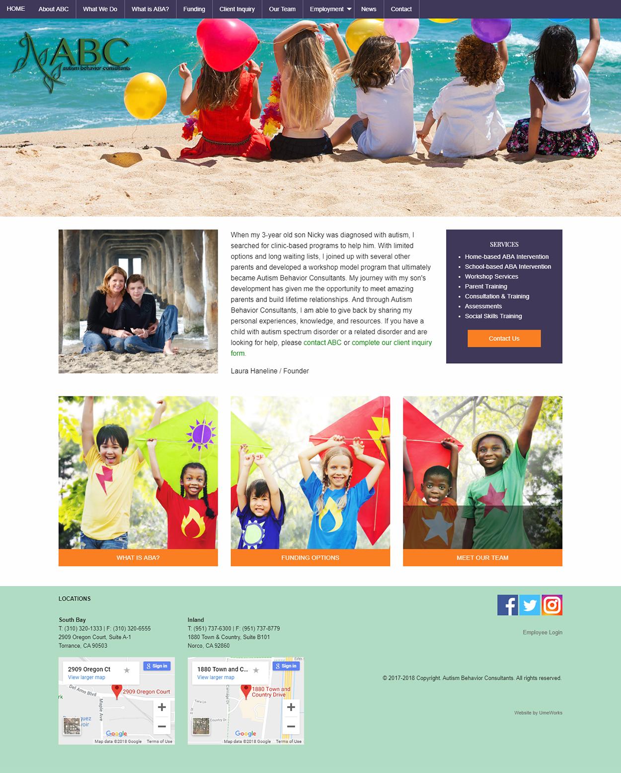 Autism Programs website design