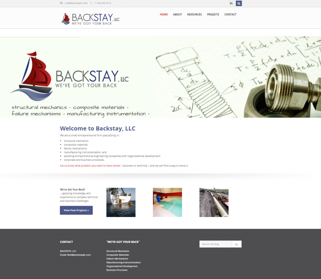 website design for Backstay LLC in Torrance
