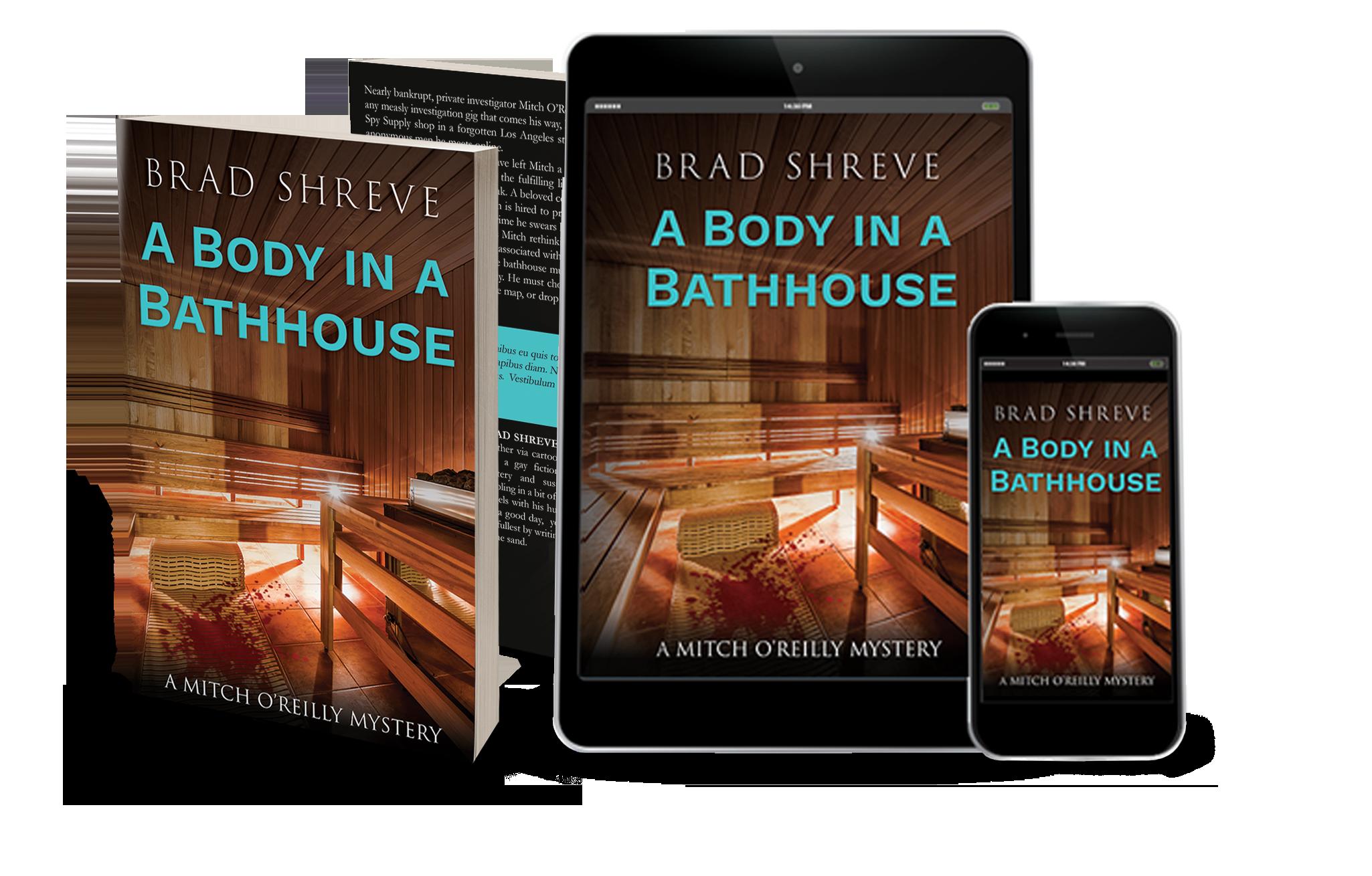 Book cover design for A Body in a Bathhouse