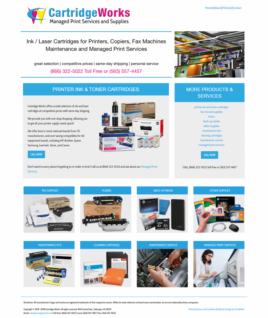 Cartridge Works website design