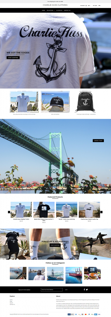 Charlie Huss Clothing website design