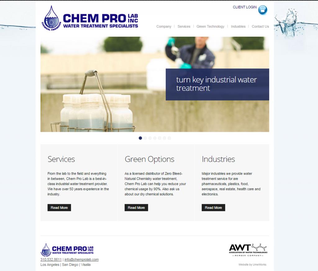 website design for Chem Pro Lab Inc. in Torrance