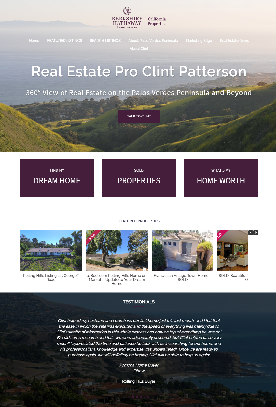 Palos Verdes realtor Clint Patterson website