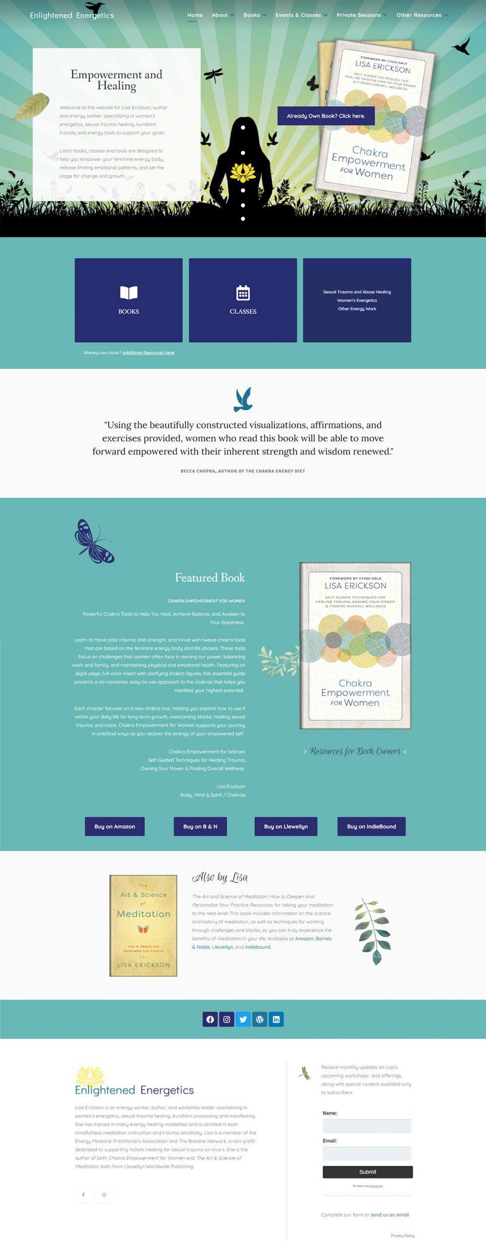 Enlightened Energetics and Chakra Empowerment for Women website redesign