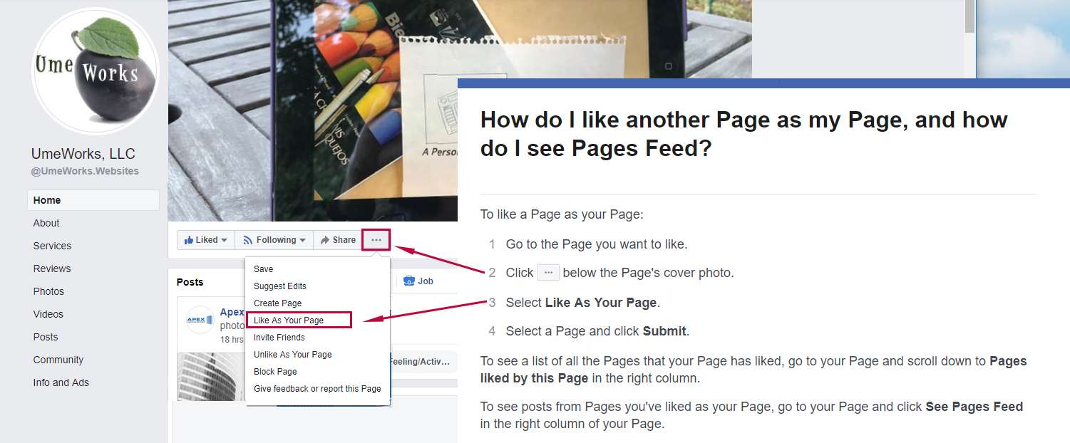 how to like a Facebook page from another page