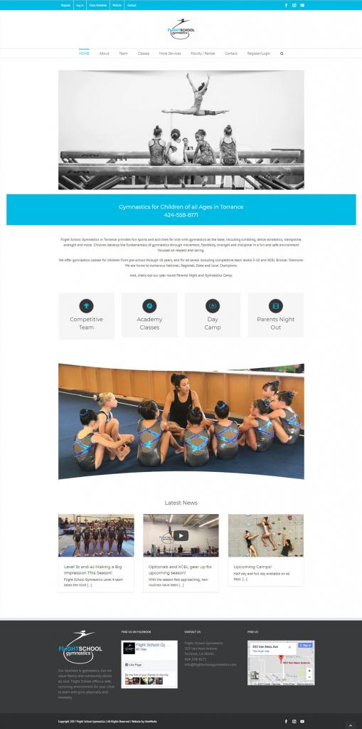Flight School Gymnastics website design