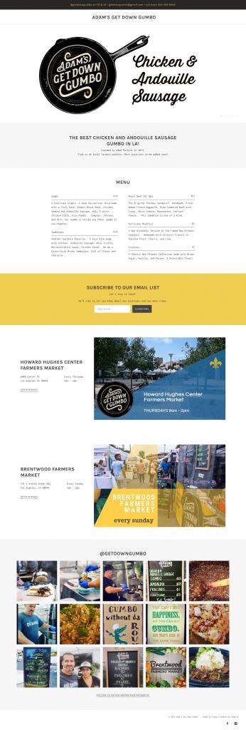 Adam's Get Down Gumbo website design