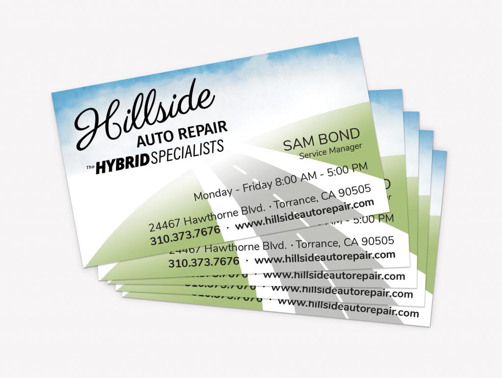 Hillside Auto Repair business card design