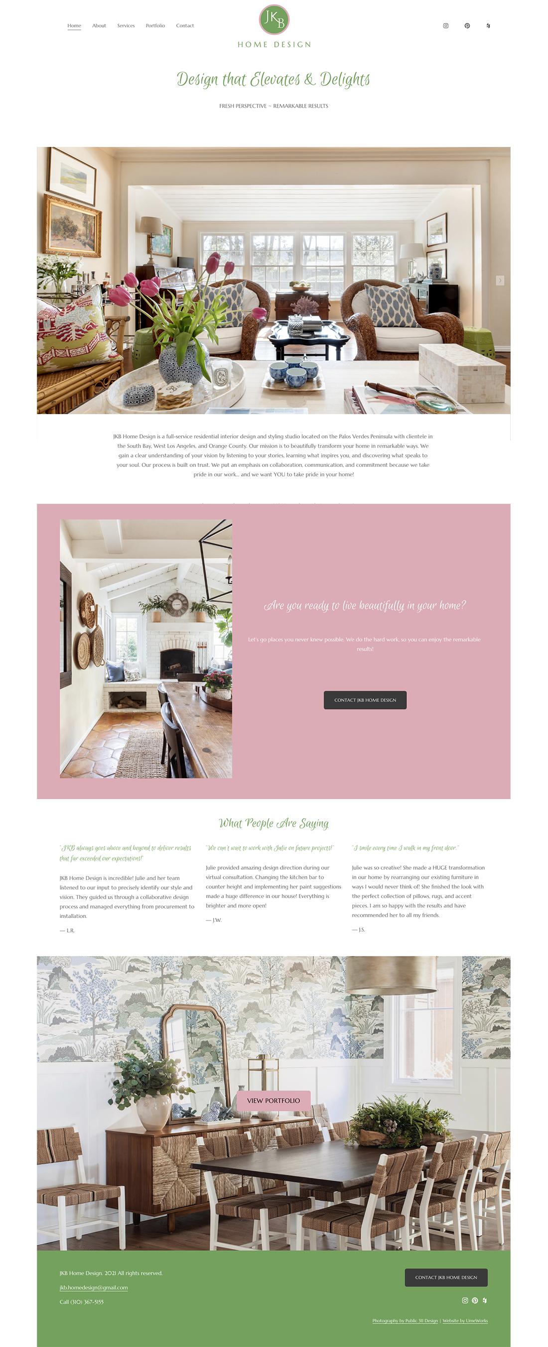JKB Home Design website homepage