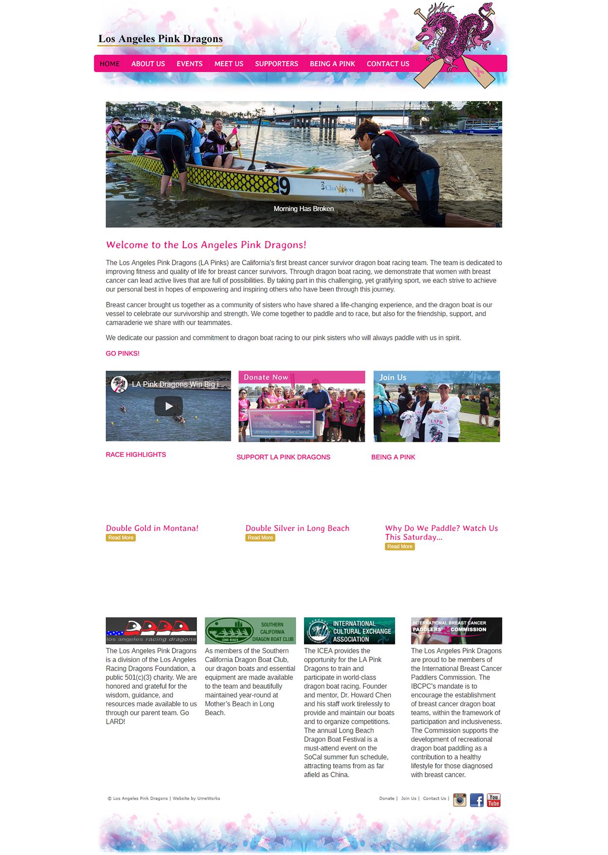 website design for LA Pink Dragons