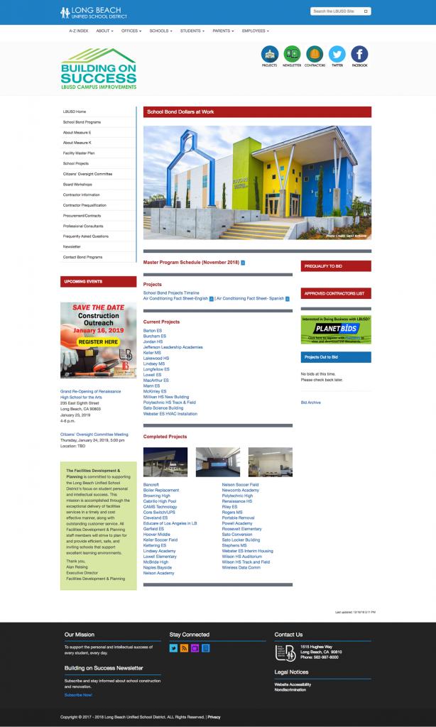 Long Beach Unified School Bond Programs website