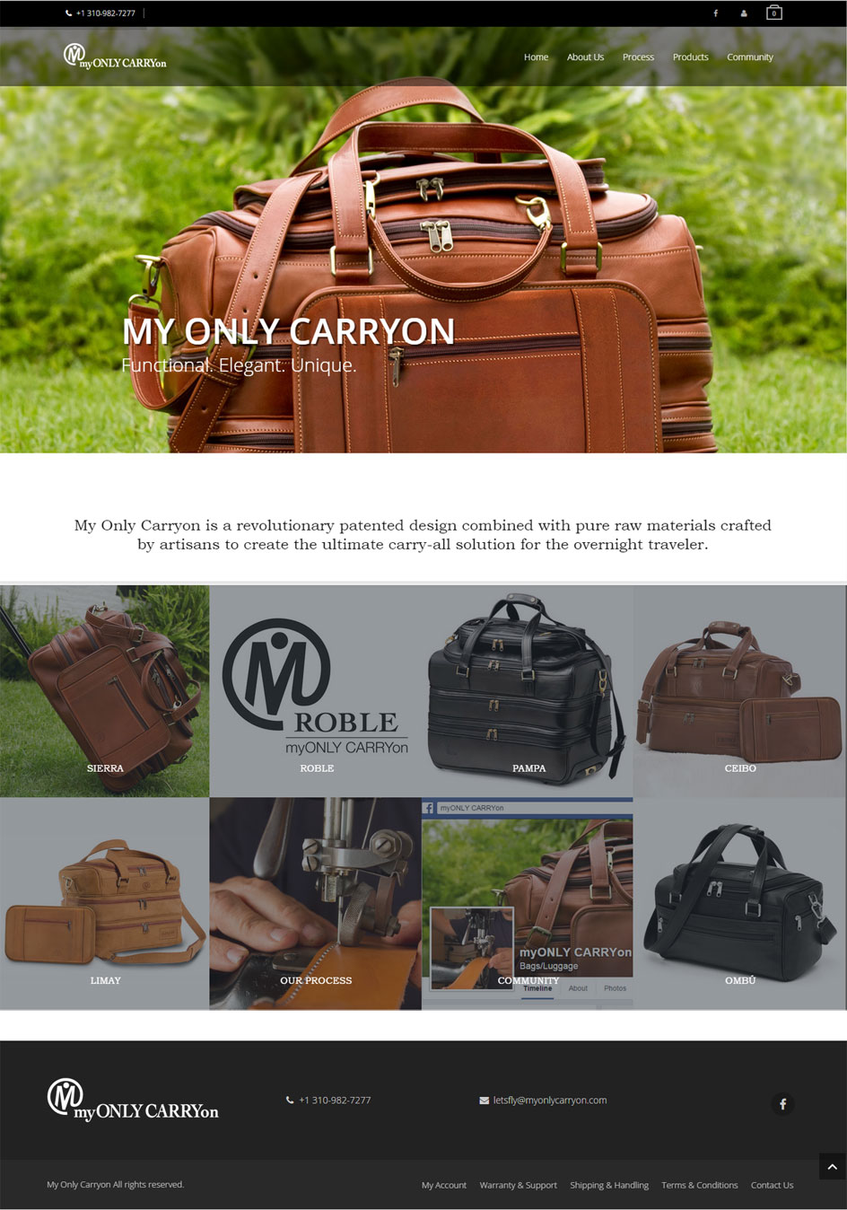 My Only Carryon website design