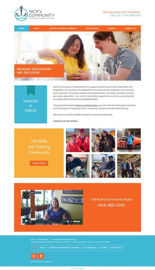 Nick's Community website design