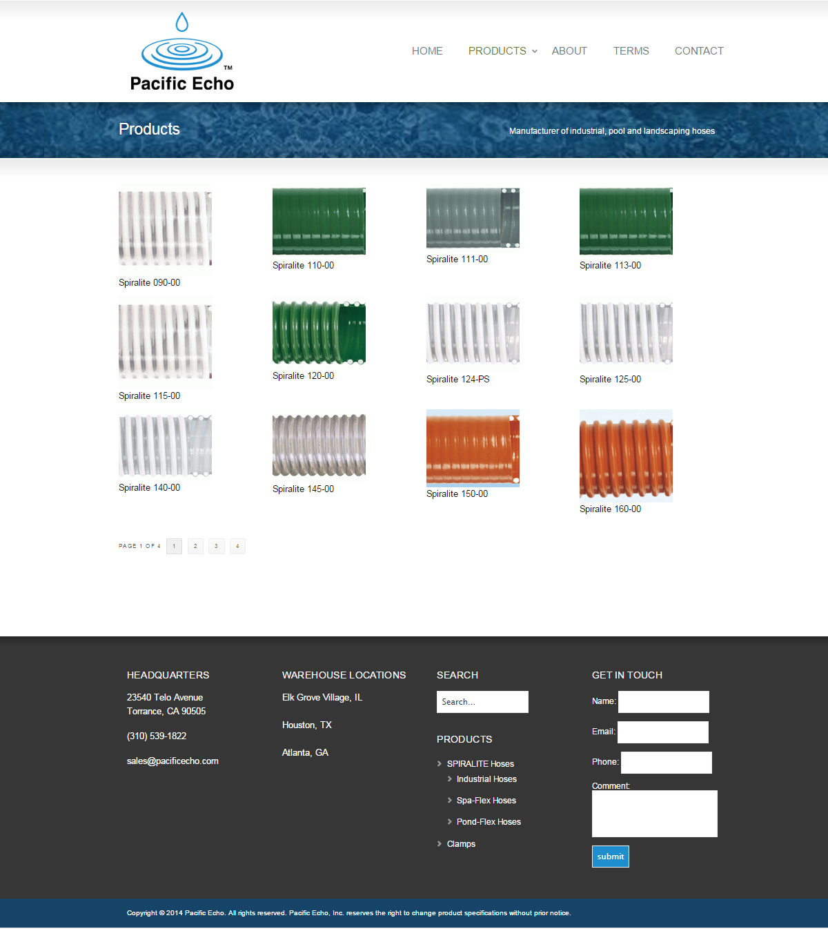 Pacific Echo products category page