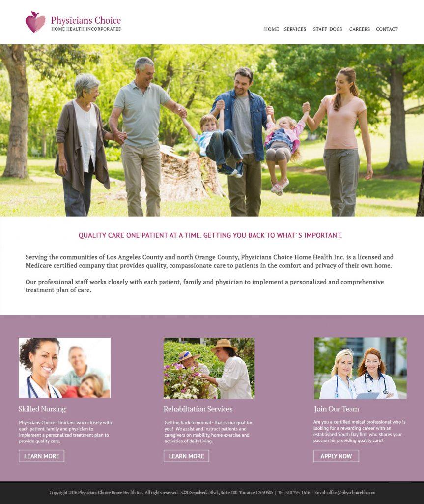 Physician's Choice Home Health Inc. website design