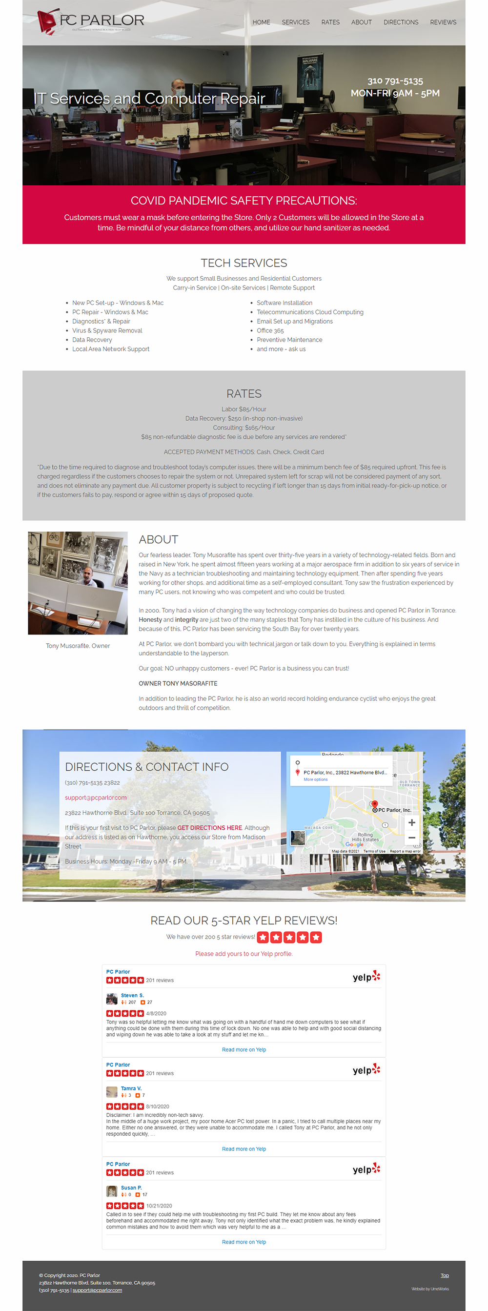 website redesign for PC Parlor in Torrance