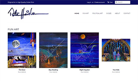 UmeWorks built an Shopify ecommerce website for Peter Heisler art.