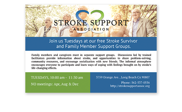 Stroke Support Association print design for postcard about support groups