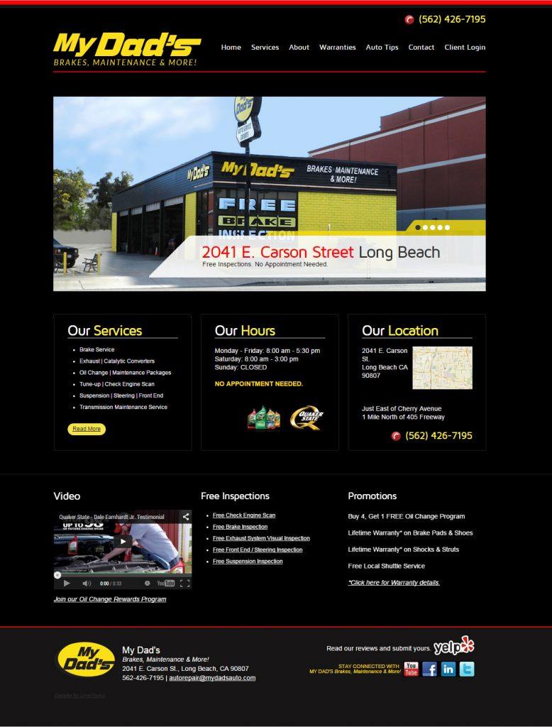 My Dad's Brakes, Maintenance & More website design