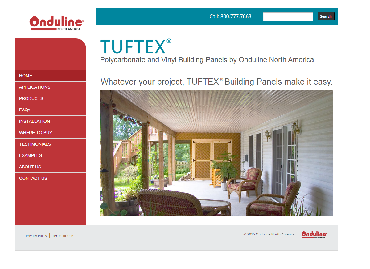 Tuftex by Onduline North America website design