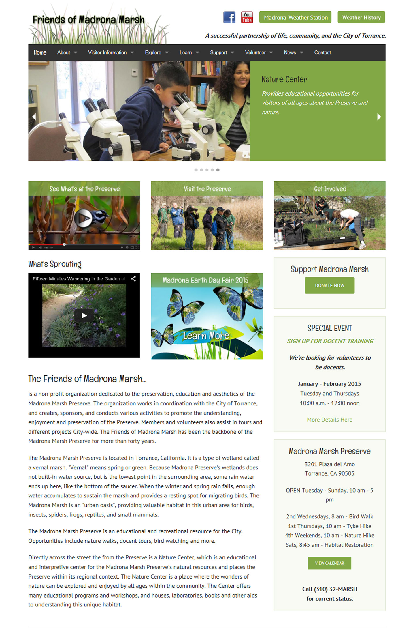 website design and build for Friends of Madrona Marsh in Torrance