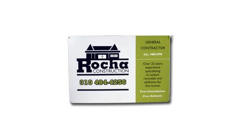 sign design for Rocha Construction