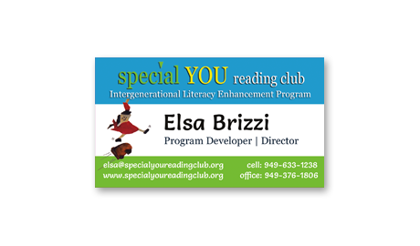 business card design for Special You Reading Club