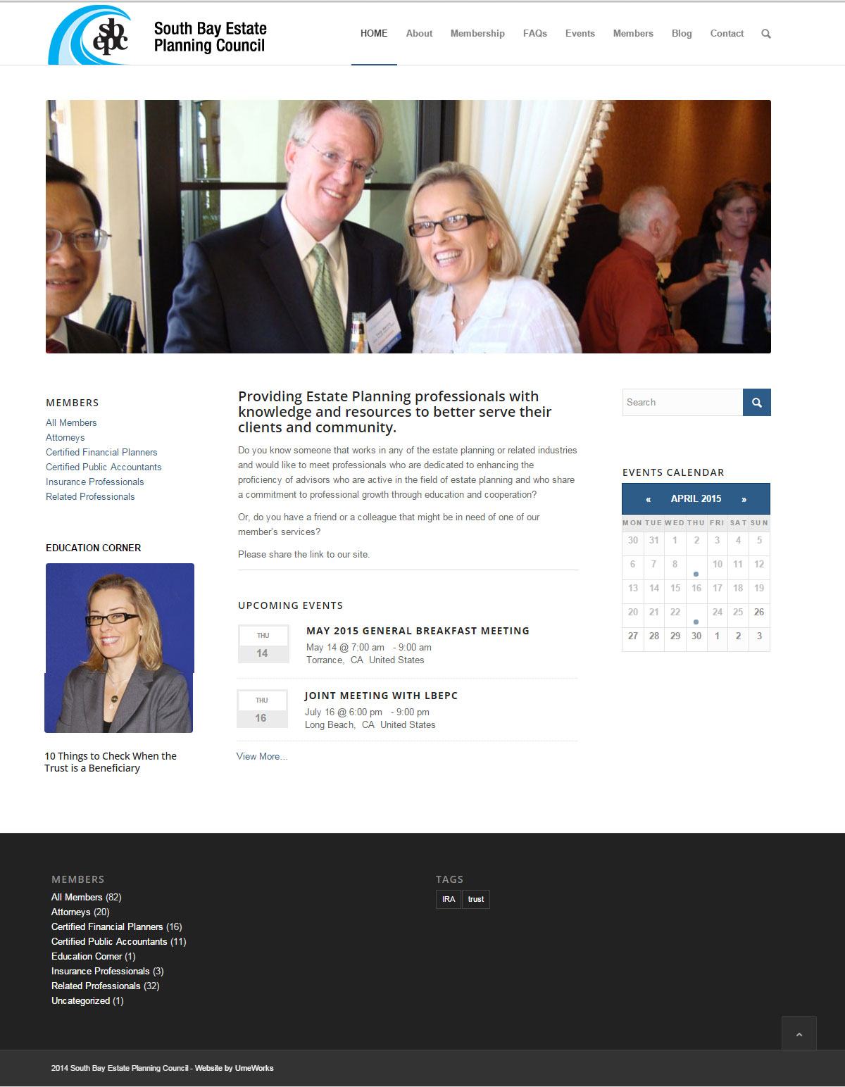 South Bay Estate Planning Council home page screenshot