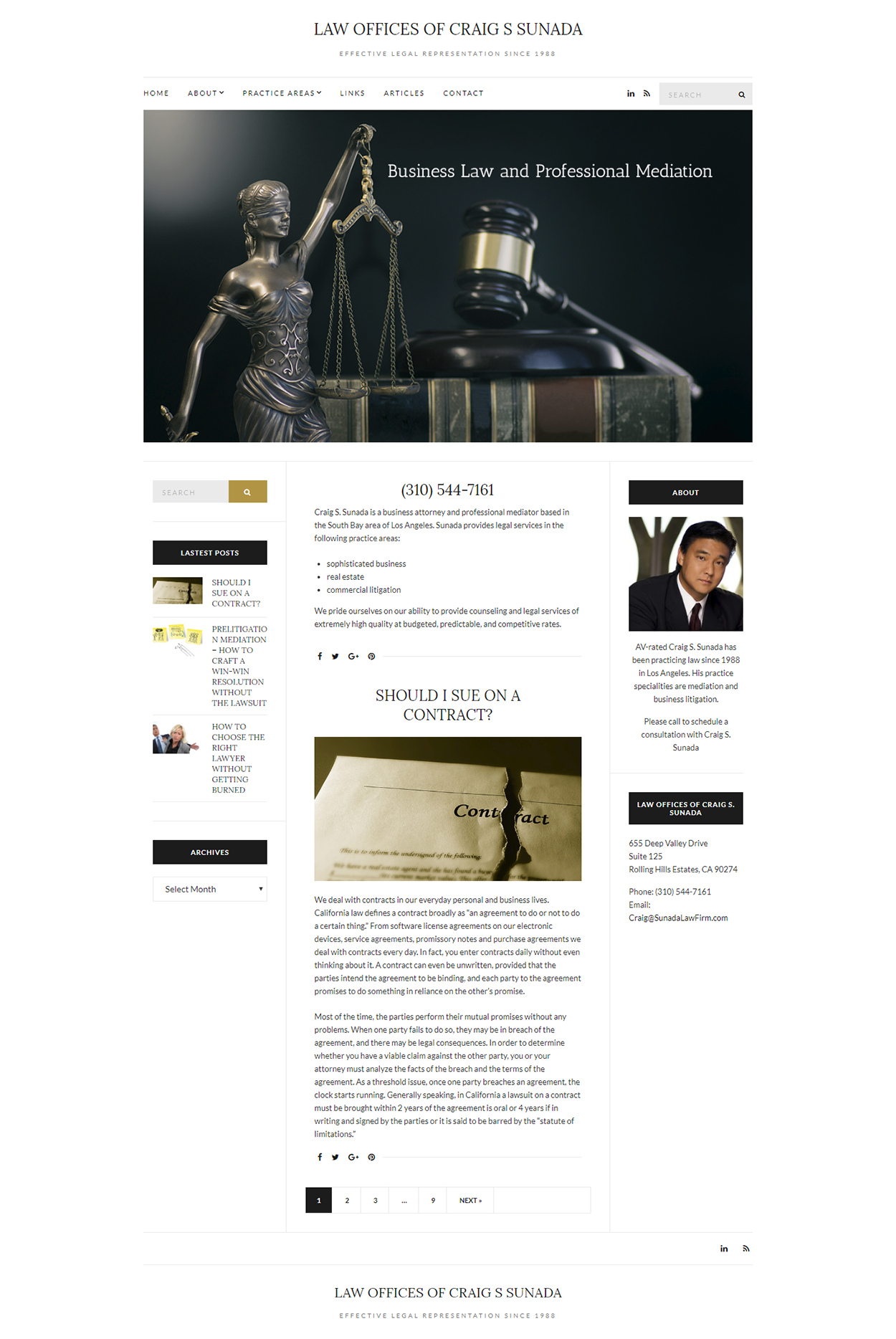 Law Offices of Craig S Sunada website design