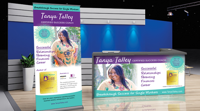 Tanya Talley print design for pull-up banner and table banner