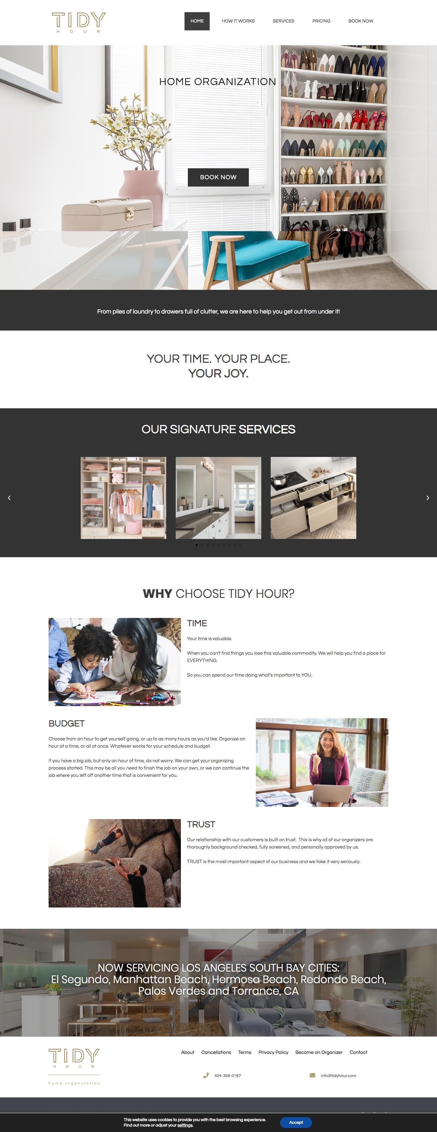 Tidy Hour website design