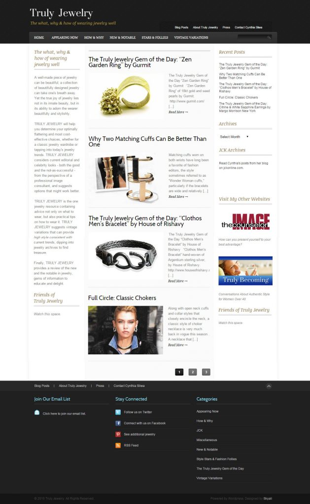 website design for Truly Jewelry in Hermosa Beach