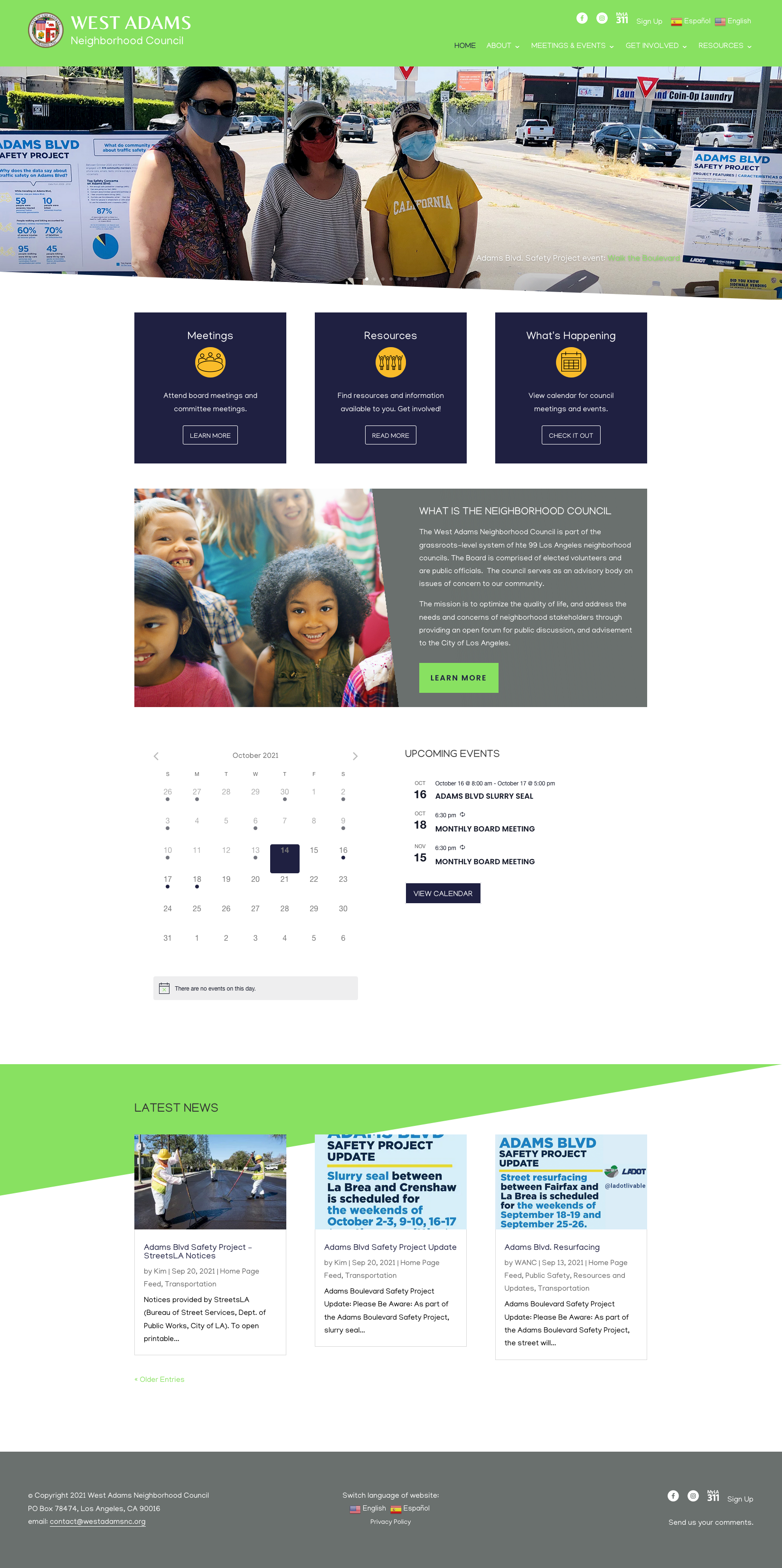 West Adams Neighborhood Council redesigned website