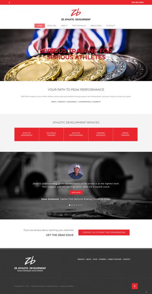 ZB Athletic Development website design